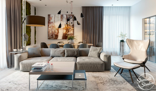Contemporary Designs Bring Light to Living Room in Minsk