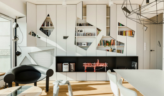 Industrial Apartment in Poznan with Contemporary Pendant Lamps