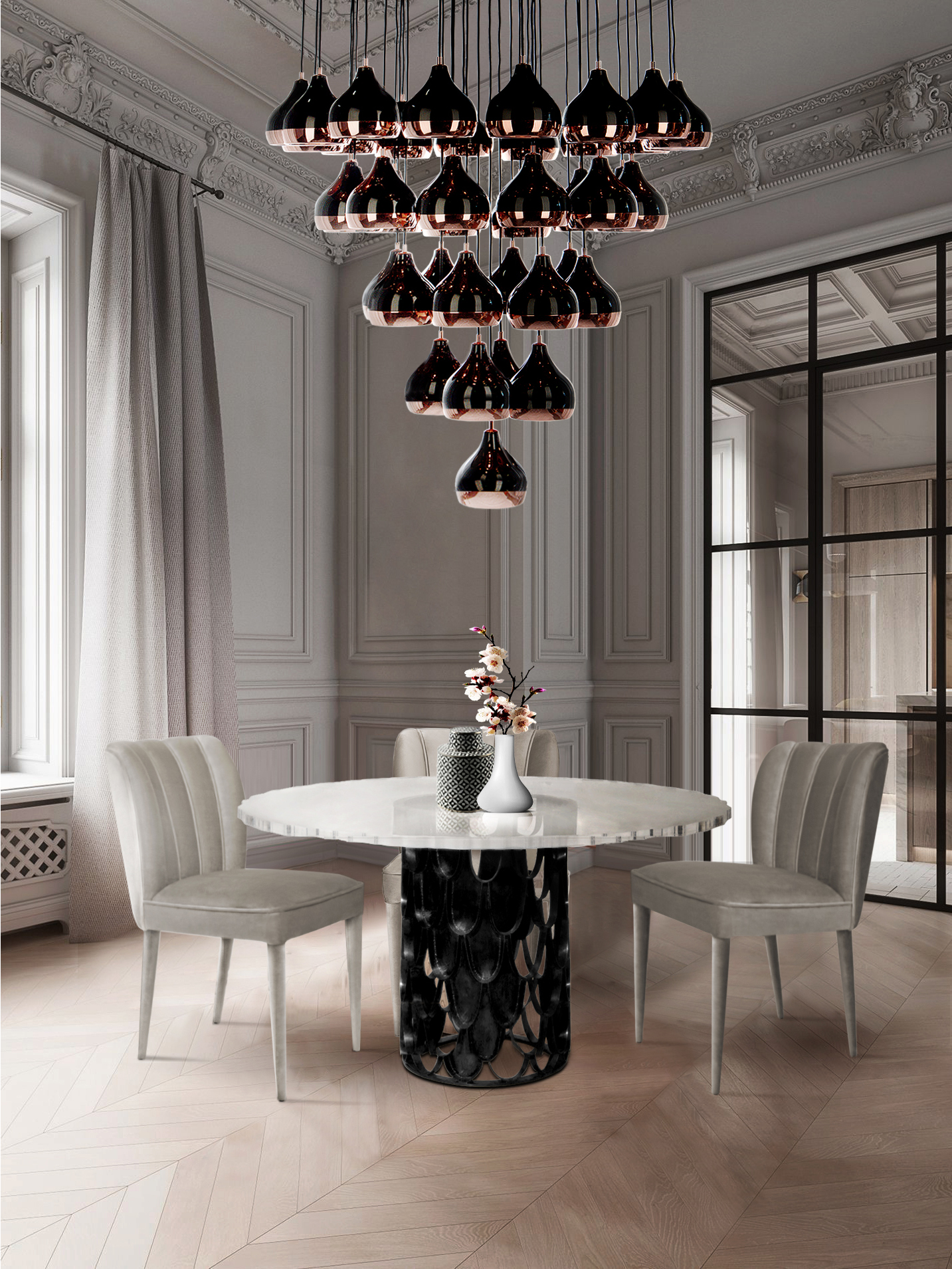 7 Dining Rooms That Make The Most Out of Limited Space Due to the Lighting Fixture! dining rooms 7 Dining Rooms That Make The Most Out of Limited Space Due to the Lighting Fixture! 3 4